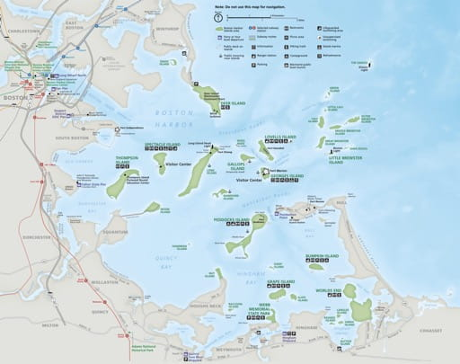 Official Visitor Map of Boston Harbor Islands National Recreation Area (NRA) in Massachusetts. Published by the National Park Service (NPS).