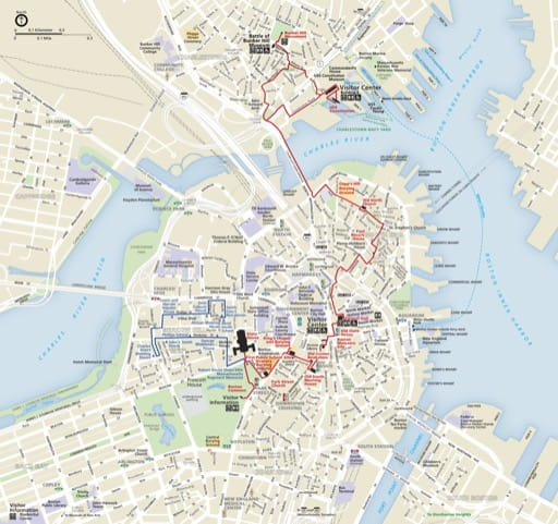 Official visitor map of Boston National Historic Park (NHP) in Massachusetts. Published by the National Park Service (NPS).