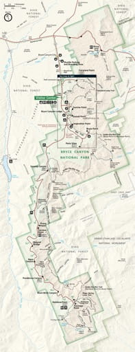 Official visitor map of Bryce Canyon National Park (NP) in Utah. Published by the National Park Service (NPS).