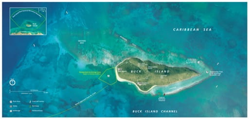 Official Visitor Map of Buck Island Reef National Monument (NM) in Virgin Islands. Published by the National Park Service (NPS).