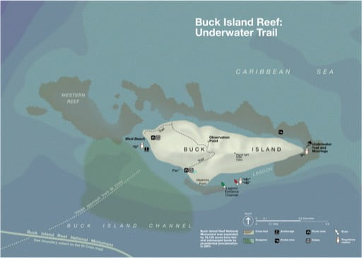 Map of the Underwater Trail on Buck Island Reef National Monument (NM) in Virgin Islands. Published by the National Park Service (NPS).