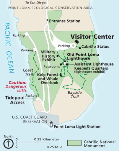 Official visitor map of Cabrillo National Monument (NM) in California. Published by the National Park Service (NPS).