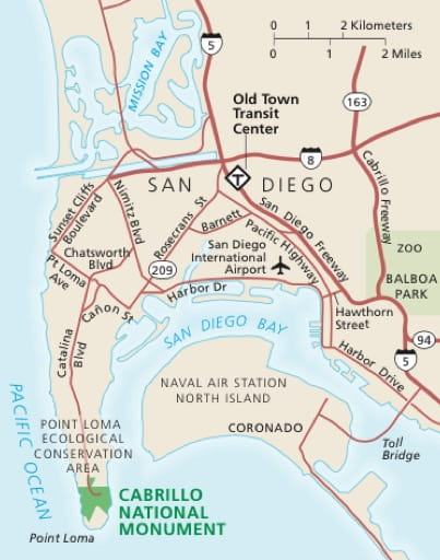 Area map of Cabrillo National Monument (NM) in California. Published by the National Park Service (NPS).