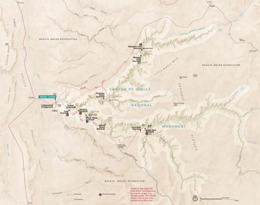 Official visitor map of Canyon de Chelly National Monument (NM) in Arizona. Published by the National Park Service (NPS).