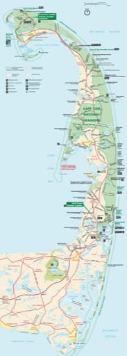 Official visitor map of Cape Cod National Seashore (NS) in Massachusetts. Published by the National Park Service (NPS).