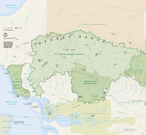 Official visitor map of Cape Krusenstern National Monument (NM) in Alaska. Published by the National Park Service (NPS).
