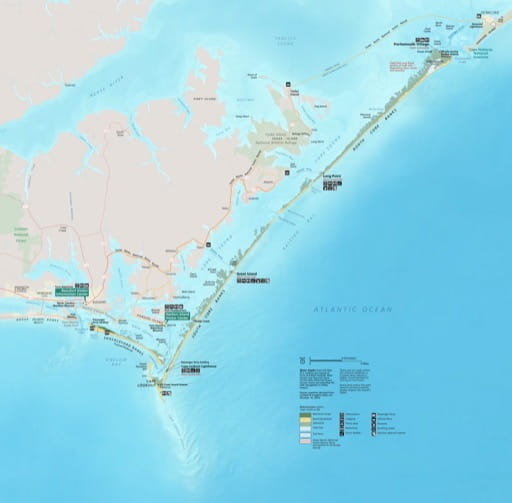 Official visitor map of Cape Lookout National Seashore (NS) in North Carolina. Published by the National Park Service (NPS).