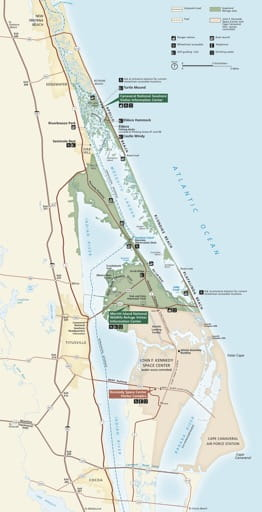 Official visitor map of Canaveral National Seashore (NS) in Florida. Published by the National Park Service (NPS).