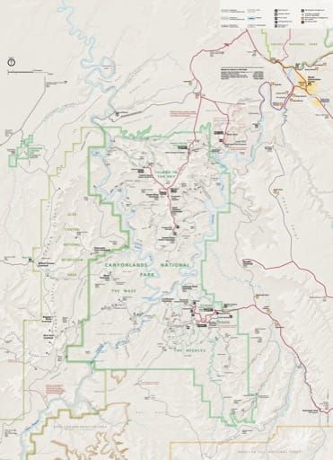Official Visitor Map of Canyonlands National Park (NP) in Utah. Published by the National Park Service (NPS).