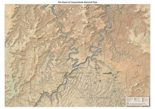 Map of The Heart of Canyonlands National Park (NP) in Utah. Published by the National Park Service (NPS).