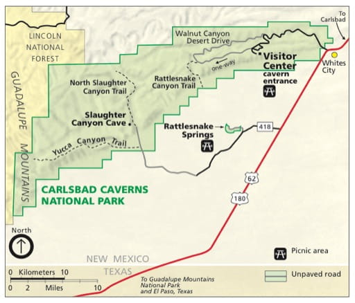 Official visitor map of Carlsbad Caverns National Park (NP) in New Mexico. Published by the National Park Service (NPS).