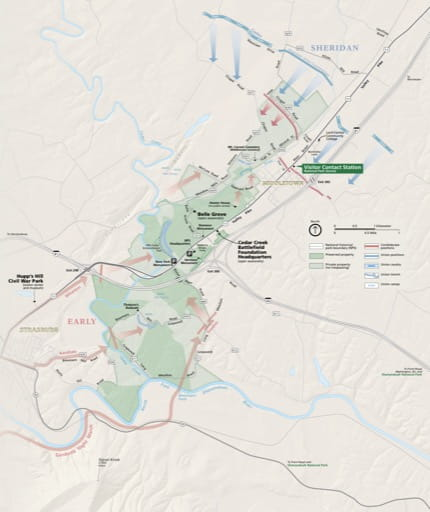 Official visitor map of Cedar Creek & Belle Grove National Historic Park (NHP) in Virginia. Published by the National Park Service (NPS).