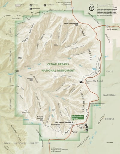 Official visitor map of Cedar Breaks National Monument (NM) in Utah. Published by the National Park Service (NPS).