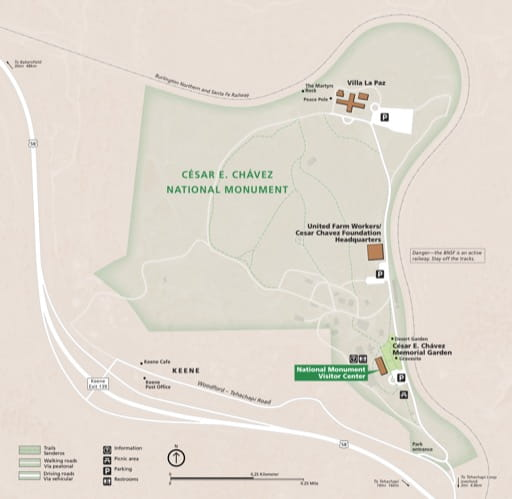 Official visitor map of César E. Chávez National Monument (NM) in California. Published by the National Park Service (NPS).