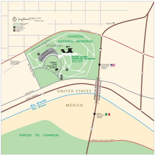Official visitor map of Chamizal National Memorial (NMEM) in Texas. Published by the National Park Service (NPS).