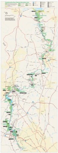 Official visitor map of Chattahoochee River National Recreation Area (NRA) in Georgia. Published by the National Park Service (NPS).