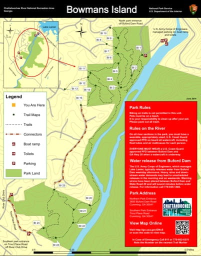 Trail map of the Bowmans Island area at Chattahoochee River National Recreation Area (NRA) in Georgia. Published by the National Park Service (NPS).