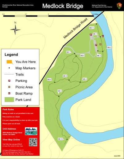 Trail map of the Medlock Bridge area at Chattahoochee River National Recreation Area (NRA) in Georgia. Published by the National Park Service (NPS).