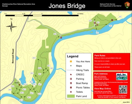 Trail map of the Jones Bridge area at Chattahoochee River National Recreation Area (NRA) in Georgia. Published by the National Park Service (NPS).