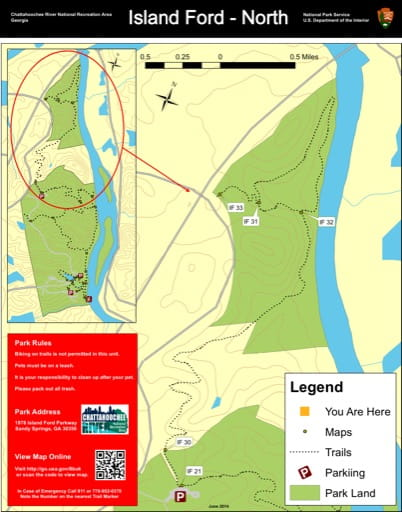 Trail map of the Island Ford North area at Chattahoochee River National Recreation Area (NRA) in Georgia. Published by the National Park Service (NPS).
