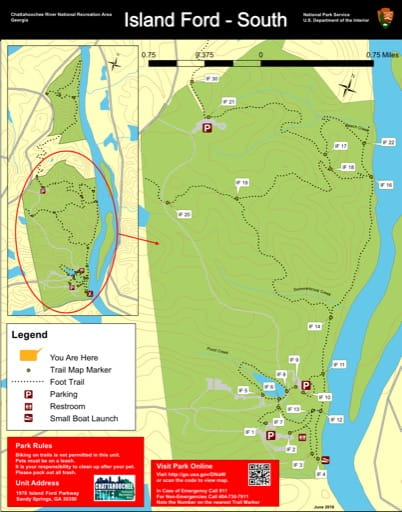 Trail map of the Island Ford South area at Chattahoochee River National Recreation Area (NRA) in Georgia. Published by the National Park Service (NPS).