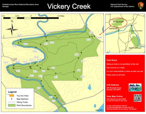 Trail map of the Vickery Creek area at Chattahoochee River National Recreation Area (NRA) in Georgia. Published by the National Park Service (NPS).