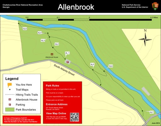 Trail map of the Allenbrook area at Chattahoochee River National Recreation Area (NRA) in Georgia. Published by the National Park Service (NPS).