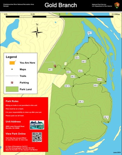 Trail map of the Gold Branch area at Chattahoochee River National Recreation Area (NRA) in Georgia. Published by the National Park Service (NPS).