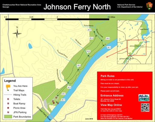 Trail map of the Johnson Ferry North area at Chattahoochee River National Recreation Area (NRA) in Georgia. Published by the National Park Service (NPS).