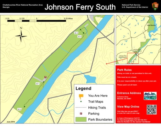 Trail map of the Johnson Ferry South area at Chattahoochee River National Recreation Area (NRA) in Georgia. Published by the National Park Service (NPS).