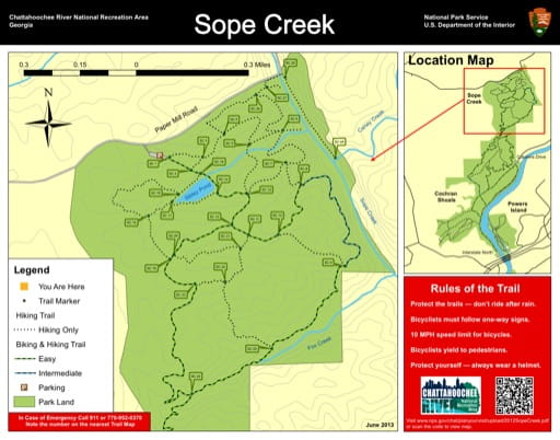 Trail map of the Cochran Shoals Sope Creek area at Chattahoochee River National Recreation Area (NRA) in Georgia. Published by the National Park Service (NPS).