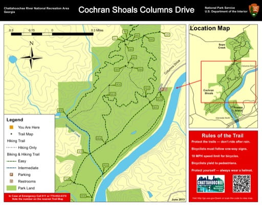 Trail map of the Cochran Shoals Columns Drive area at Chattahoochee River National Recreation Area (NRA) in Georgia. Published by the National Park Service (NPS).