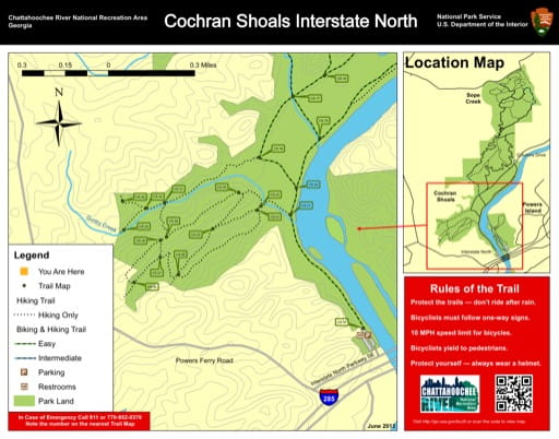 Trail map of the Cochran Shoals Interstate North area at Chattahoochee River National Recreation Area (NRA) in Georgia. Published by the National Park Service (NPS).