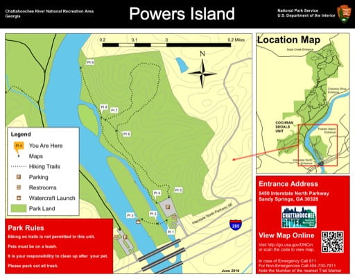 Trail map of the Cochran Shoals Powers Island area at Chattahoochee River National Recreation Area (NRA) in Georgia. Published by the National Park Service (NPS).