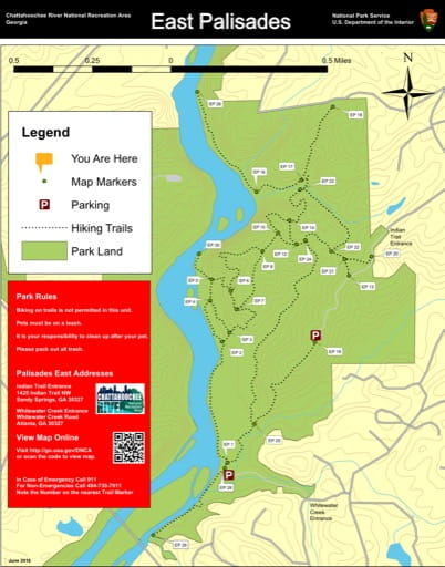 Trail map of the East Palisades area at Chattahoochee River National Recreation Area (NRA) in Georgia. Published by the National Park Service (NPS).