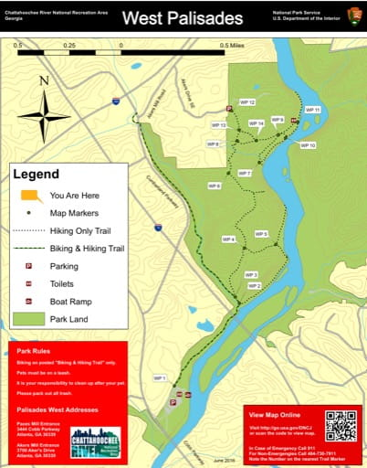 Trail map of the West Palisades area at Chattahoochee River National Recreation Area (NRA) in Georgia. Published by the National Park Service (NPS).