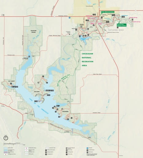 Official Visitor Map of Chickasaw National Recreation Area (NRA) in Oklahoma. Published by the National Park Service (NPS).