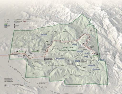 Official visitor map of Chiricahua National Monument (NM) in Arizona. Published by the National Park Service (NPS).