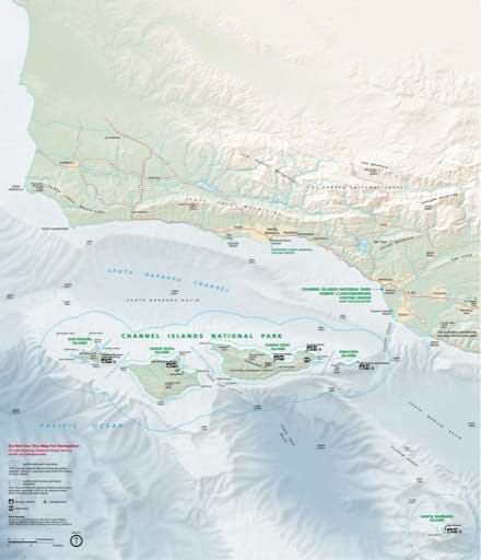 Official visitor map of Channel Islands National Park (NP) in California. Published by the National Park Service (NPS).