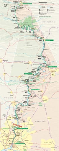 Official Visitor Map of Chesapeake & Ohio Canal National Historical Park (NHP) in Washington D.C., Maryland and West Virginia. Published by the National Park Service (NPS).