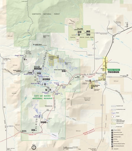 Official visitor map of City of Rocks National Reserve (NRES) in Idaho. Published by the National Park Service (NPS).