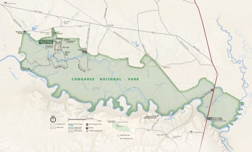 Official visitor map of Congaree National Park (NP) in South Carolina. Published by the National Park Service (NPS).