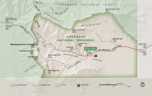 Official visitor map of Coronado National Memorial (NMEM) in Arizona. Published by the National Park Service (NPS).