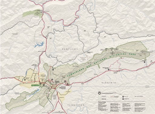 Official visitor map of Cumberland Gap National Historic Park (NHP) in Kentucky, Tennessee and Virginia. Published by the National Park Service (NPS).