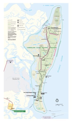 Official visitor map of Cumberland Island National Seashore (NS) in Georgia. Published by the National Park Service (NPS).