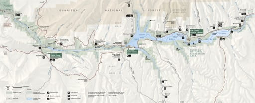 Official visitor map of Curecanti National Recreation Area (NRA) in Colorado. Published by the National Park Service (NPS).