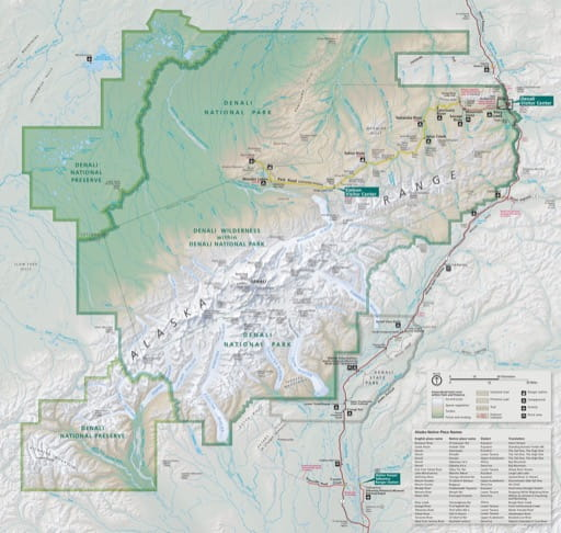 Official visitor map of Denali National Park and Preserve (NP & PRES) in Alaska. Published by the National Park Service (NPS).