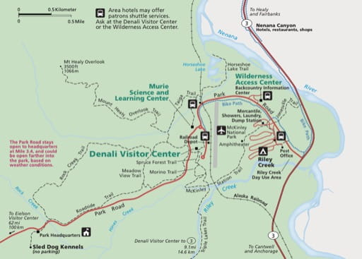Detail of the official visitor map of Denali National Park and Preserve (NP & PRES) in Alaska. Published by the National Park Service (NPS).