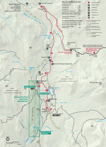 Official visitor map of Devils Postpile National Monument (NM) in California. Published by the National Park Service (NPS).