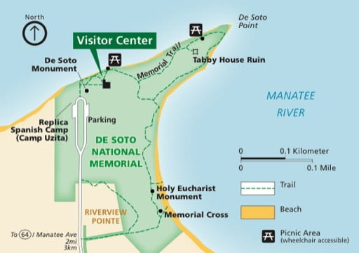 Official visitor map of De Soto National Memorial (NMEM) in Florida. Published by the National Park Service (NPS).